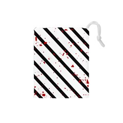 Elegant black, red and white lines Drawstring Pouches (Small)