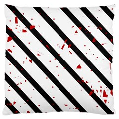 Elegant black, red and white lines Large Flano Cushion Case (One Side)