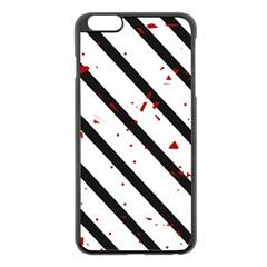 Elegant black, red and white lines Apple iPhone 6 Plus/6S Plus Black Enamel Case