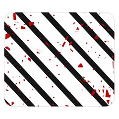 Elegant black, red and white lines Double Sided Flano Blanket (Small)
