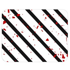 Elegant black, red and white lines Double Sided Flano Blanket (Medium)