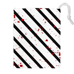 Elegant black, red and white lines Drawstring Pouches (XXL)