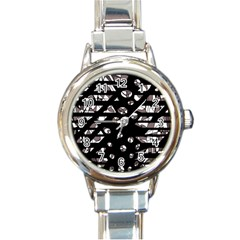 Gray abstract design Round Italian Charm Watch
