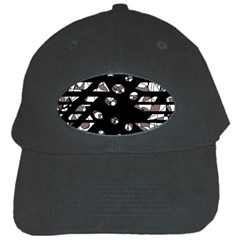 Gray abstract design Black Cap