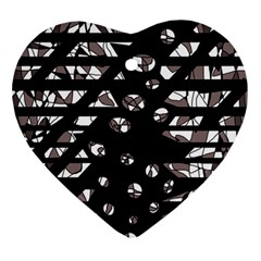 Gray abstract design Ornament (Heart)