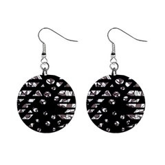 Gray abstract design Mini Button Earrings