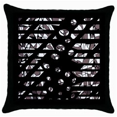 Gray abstract design Throw Pillow Case (Black)