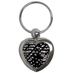 Gray abstract design Key Chains (Heart)