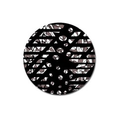 Gray abstract design Magnet 3  (Round)