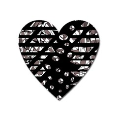 Gray abstract design Heart Magnet