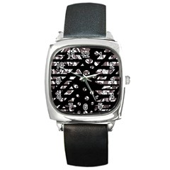 Gray abstract design Square Metal Watch