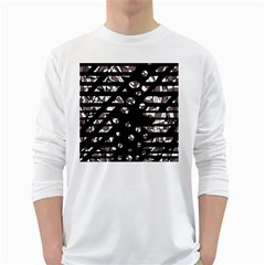 Gray abstract design White Long Sleeve T-Shirts