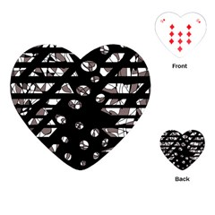 Gray abstract design Playing Cards (Heart)