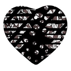Gray abstract design Heart Ornament (2 Sides)