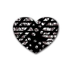 Gray abstract design Rubber Coaster (Heart)