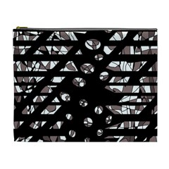 Gray abstract design Cosmetic Bag (XL)
