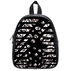 Gray abstract design School Bags (Small)
