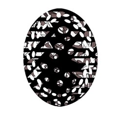 Gray abstract design Oval Filigree Ornament (2-Side)