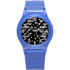 Gray abstract design Round Plastic Sport Watch (S)