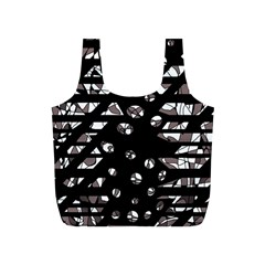 Gray abstract design Full Print Recycle Bags (S)