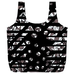 Gray abstract design Full Print Recycle Bags (L)