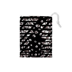 Gray abstract design Drawstring Pouches (Small)