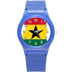 Flag Map of Ghana Round Plastic Sport Watch (S)