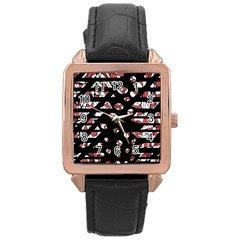 Red freedam Rose Gold Leather Watch