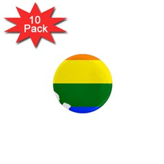 Lgbt Flag Map of Illinois 1  Mini Magnet (10 pack)