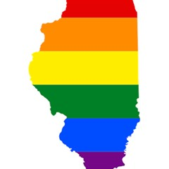 Lgbt Flag Map Of Illinois 5 5  X 8 5  Notebooks