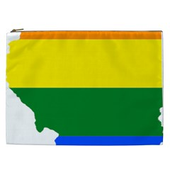 Lgbt Flag Map of Illinois Cosmetic Bag (XXL)