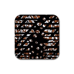 Brown freedom  Rubber Coaster (Square)