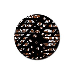 Brown freedom  Rubber Coaster (Round)