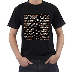 Brown freedom  Men s T-Shirt (Black) (Two Sided)
