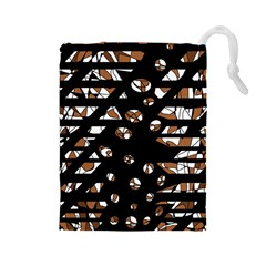 Brown freedom  Drawstring Pouches (Large)