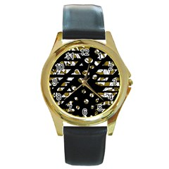 Green freedom Round Gold Metal Watch