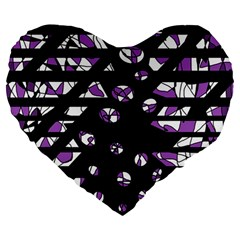 Violet freedom Large 19  Premium Flano Heart Shape Cushions