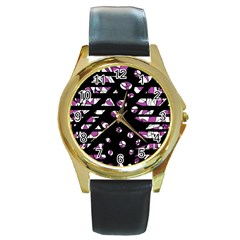 Magenta freedom Round Gold Metal Watch