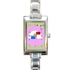 Decorative abstract circle Rectangle Italian Charm Watch