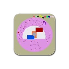 Decorative abstract circle Rubber Square Coaster (4 pack)