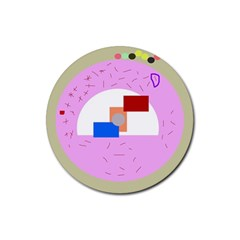 Decorative abstract circle Rubber Coaster (Round)