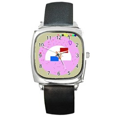 Decorative abstract circle Square Metal Watch