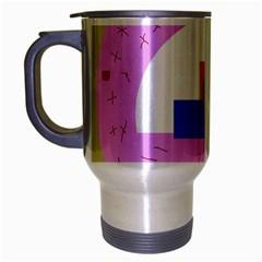 Decorative abstract circle Travel Mug (Silver Gray)