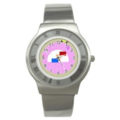 Decorative abstract circle Stainless Steel Watch