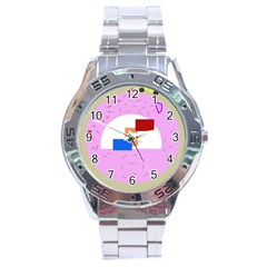 Decorative abstract circle Stainless Steel Analogue Watch