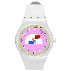 Decorative abstract circle Round Plastic Sport Watch (M)