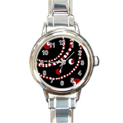 Red pearls Round Italian Charm Watch