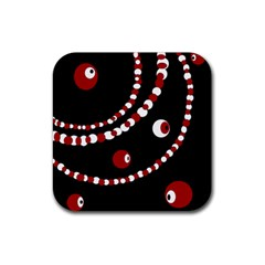 Red pearls Rubber Square Coaster (4 pack)