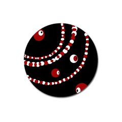 Red pearls Magnet 3  (Round)