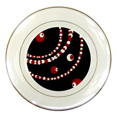 Red pearls Porcelain Plates